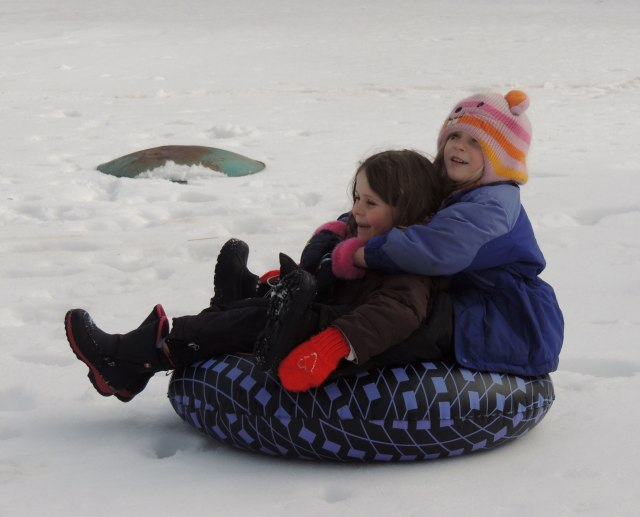 Ivy and Natalie Sledding