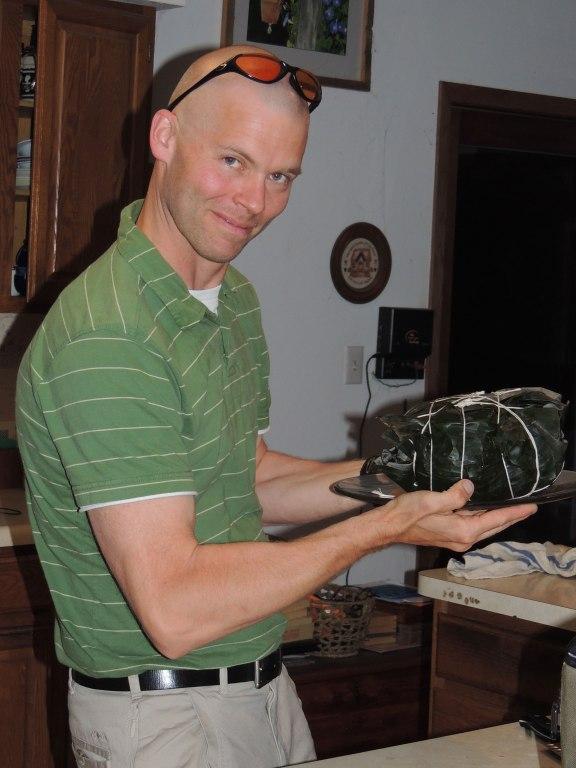 John with banana leaf wrapped pork shoulder