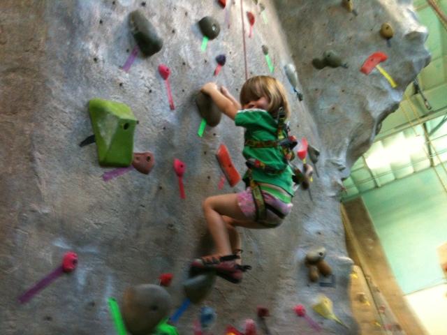 Clara on climbing wall