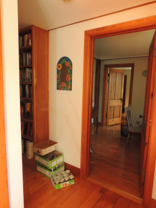 Still standing by the back door you've now turned and looked the opposite direction. The hall way with the awesome built in bookshelves to your left takes you to the front door.