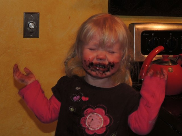 Jane crying with chocolate face