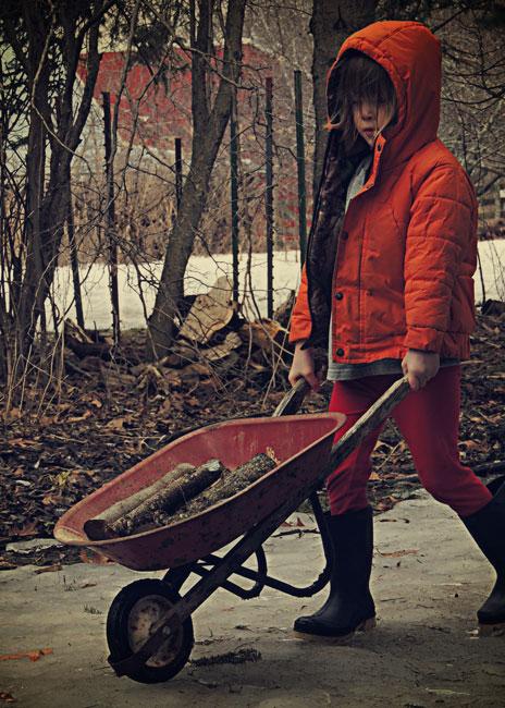 Clara with wheelbarrow