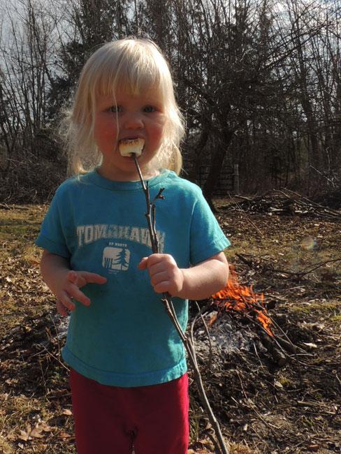 Jane eating marshmallow