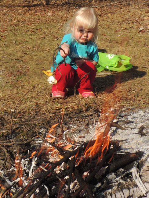 Jane roasting marshmallow