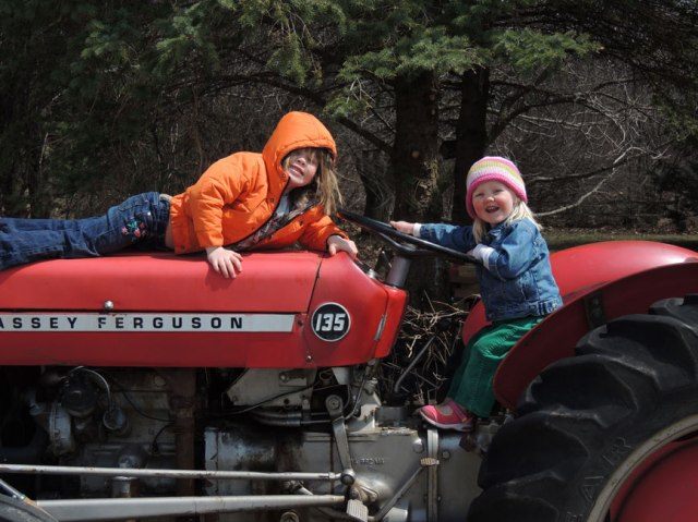 Jane and Clara on tractor