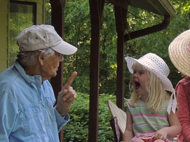 Granny tries to tell Jane that you should be quiet when you go fishing.