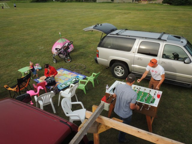 Yup, we picnicked with our Foosball table- cut the grilling operation out of the picture- everybody knows what that looks like!