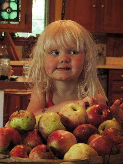 Jane with apples
