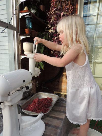 Jane grinds meat 4