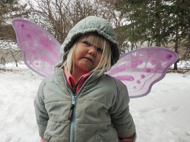 Jane snowsuit and fairy wings