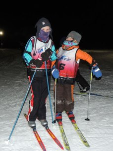 Ivy and Clara on skis