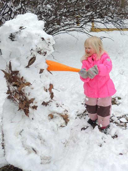 Jane smashing snowman