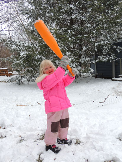 Jane in snow with fat bat
