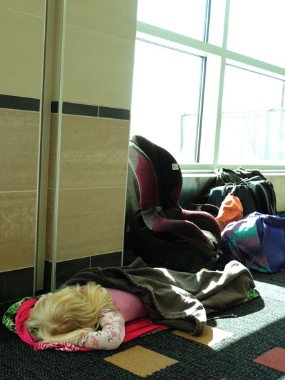 Jane sleeps on airport floor