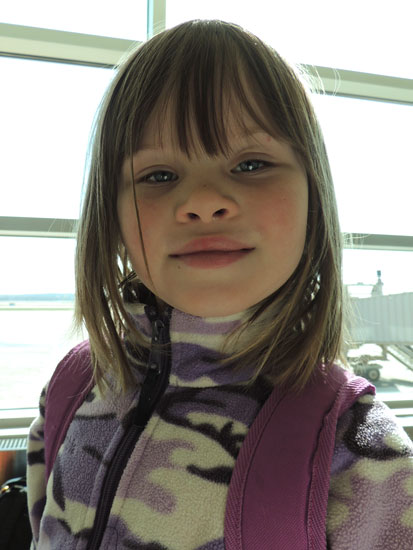 Clara whistled while she wandered her way through the airports so at least we could hear her...