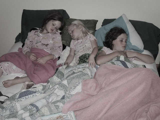 Clara, Jane and Ivy sleeping in my bed