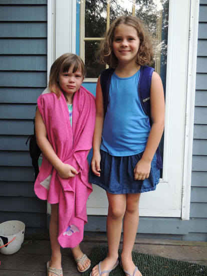 Ivy and Clara first day of school