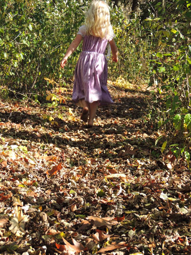 Jane running in leaves