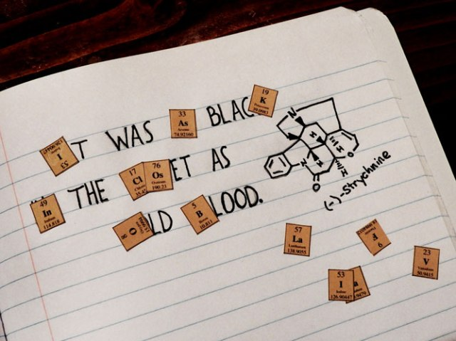 """It was as black in the closet as old blood."" At least three quarters of the credit for this masterpiece goes to John who came up with all the ideas and drew the chemical structure!"