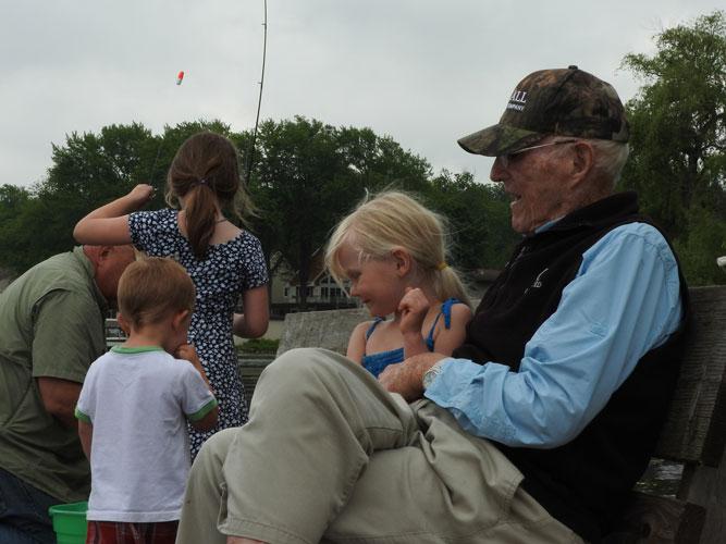 Jonas, Clara, Jane and Gramps fishing