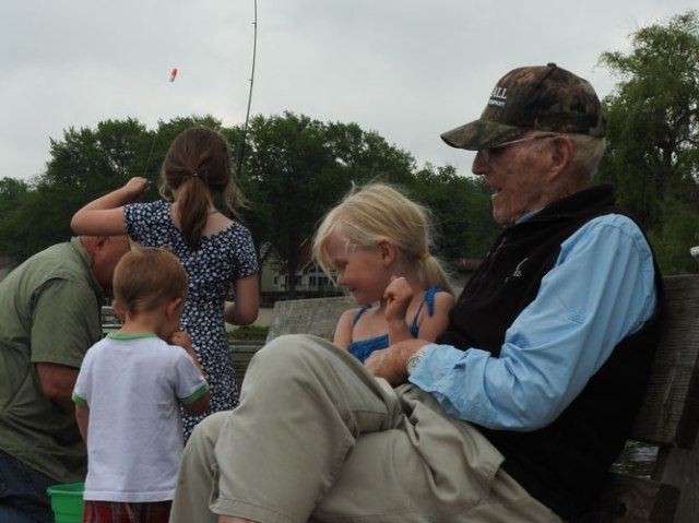 Jonas, Clara, Jane and Gramps fishing