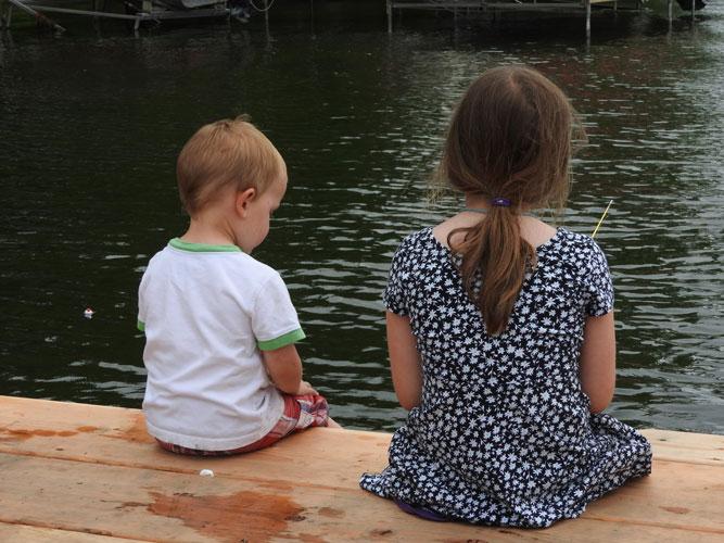 Jonas and Clara fishing