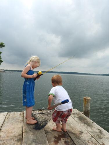 Jane and Jonas bluegill fishing