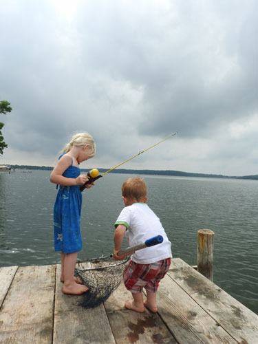 Jane and Jonas bluegill fishing