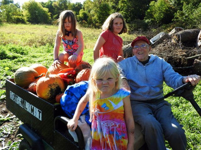 Ivy, Clara, Jane, Gramps and pumpkins