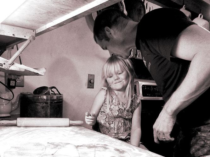 Jane and John making cookies