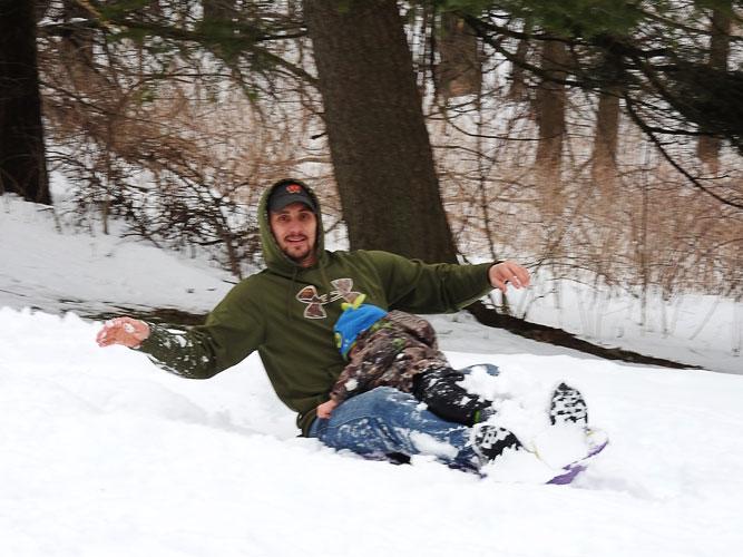 Tyler and Jonas sledding