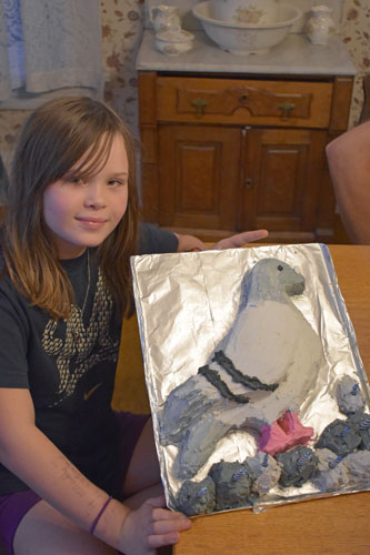 Clara and pigeon cake